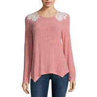 Rewind Long Sleeve Round Neck T-Shirt-Juniors - JCPenney