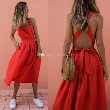 Women Sexy Criss Cross Off Shoulder Sundress Elegant Pleated High Waist Bare Back Bow Midi A Line Summer Dress Vestidos