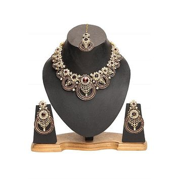 Handmade Indian Gold Necklace, Maang Tikka & Earrings