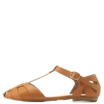 08de48a22cac Natural Closed Toe T-Strap Huarache Flats from Charlotte Russe