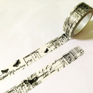 Beautiful high quality washi paper tape 15mm*10m Black Postmark and Vintage butterfly masking japan washi tape