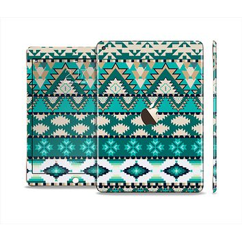 The Vector Teal & Green Aztec Pattern Skin Set for the Apple iPad Air 2