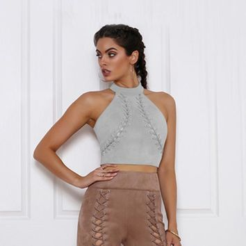 Tank Top Women Cross Lace up Sexy Back Zipper Crop Tops Halter Casual Off Shoulder blusas femininas de verao