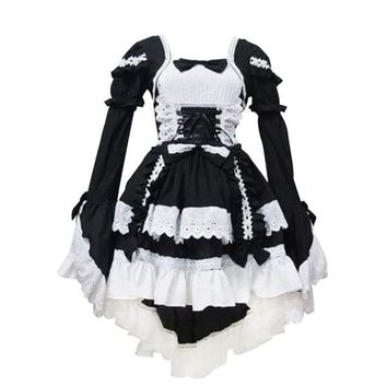Japanese Traditional Maid Dress Cosplay Outfit Maid Costume Dress (Black)