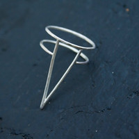 Large Silver Spike Ring, Triangle, Thin Silver Ring