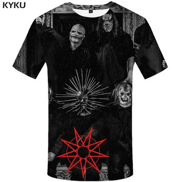 KYKU Slipknot T Shirt Men Character Tshirt Black 3d Printed T-shirt Anime Clothes Punk Rock Tee Band Mens Clothing Summer 2018