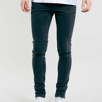 CHARCOAL SPRAY ON SKINNY KNEE RIP JEANS - Men's Jeans - Clothing