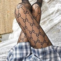 GUCCI BALENCIAGA New Fashion Women Sexy Letter Sock Long Net Socks Black