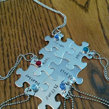 Hand Stamped Best Friends Puzzle Pieces Necklace - Family - Bridal Party - Sports Team Gifts - Personalized Necklaces - Bridesmaids