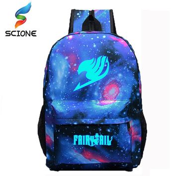 High Quality Fairy Tail Backpack Cartoon Travel Bag Japan Anime Printing School Bag for Teenagers Nylon Galaxia Magic Backpacks