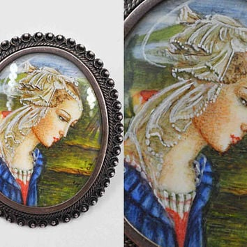 Antique 800 Silver Portrait Pin Brooch, Pendant, Hand Painted, Signed L. Fici, Madonna, Virgin Mary, Cannetille, Superb! #b893