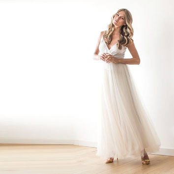 Champagne tulle maxi dress,Fairy tulle maxi dress , Bridesmaids straps maxi gown