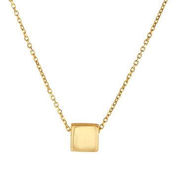 14k Yellow Gold Diamond Cut Square Shape Pendant Chain Necklace, 18""