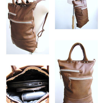 Unisex Leather Laptop bag - Convertible Backpack Messenger Combo - Antique Tan Leather