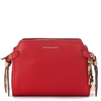 Michael Kors Bristol Pebbled Leather Medium Messenger Handbag in Bright Red