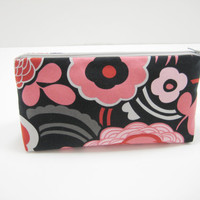 Cosmetic Bag, Zippered Accessory Pouch, Cosmetic Case, Pencil Case in Modern Floral Print, Gray and Pink, Ready to Ship