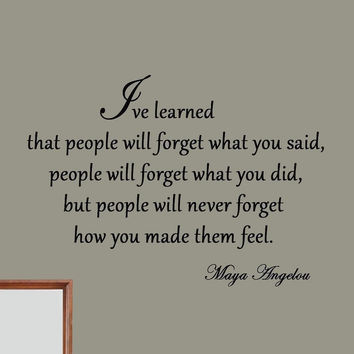 I've Learned That People Will Forget What You've Said Maya Angelou Vinyl Wall...