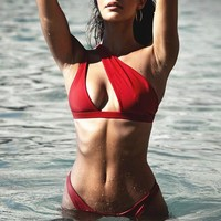 One shoulder bikinis mujer Sexy red swimsuit female Push up swimwear women bathing suit biquini new two-piece suit