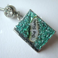 Big Sister Custom Belly Ring Gemstone Locket Antiqued Silver Turquoise Birthstone Piercing Stained Glass Jewelry Birthday Gift