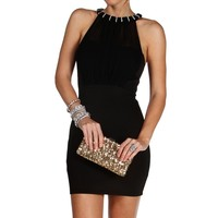 Sale-black Embellished Neck Short Dress