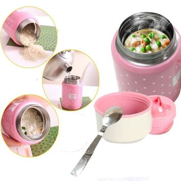 350ml thermos brush gift inox folding spoon thermal lunch box children termos colorful soup jar portable bag food container