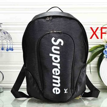 Louis Vuitton LV x Supreme Woman Men Fashion Leather Backpack Bookbag