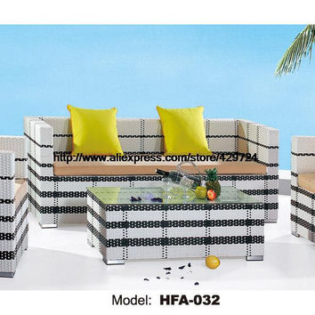Modern Black White 123 Sectional Rattan Sofa 2 Chair Sofa Coffee Table Set Outside Garden Health Rattan Vine Furniture HFA032