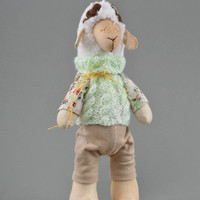 Soft toy lamb handmade stuffed toy in green jacket for kids and home decor