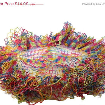 20% OFF SUMMER SALE Vintage Crochet Doily Fine Yarn Multicolor Very Unique