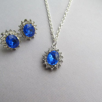 Sapphire and Cystal Diamond Wedding Silver Necklace and Earrings
