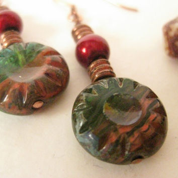 Pressed Czech Glass Copper Earrings- Green and Red- Earth Colors- Brick Red, Forest Green- Antique Copper Spacers