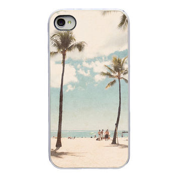 Iphone case for Iphone 4 and 4s - Oahu - Hawaii - Palm trees - beach - phone accessory - girly Iphone case