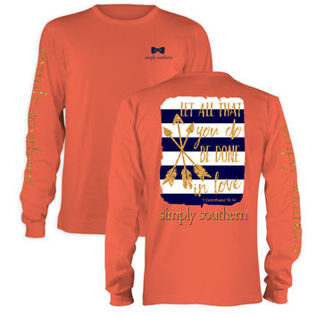 Simply Southern Preppy Be Done In Love Arrows Long Sleeve T-Shirt