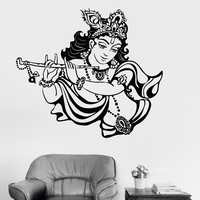 Vinyl Wall Decal Krishna Hinduism God India Hindu Stickers (ig3789)