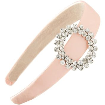 Tasha Crystal Buckle Satin Headband | Nordstrom