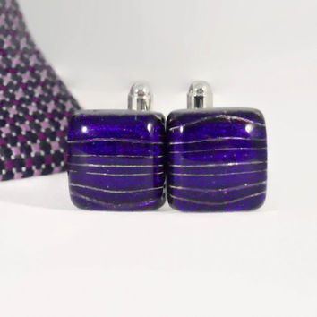 Dichroic Glass Cufflinks, Purple and Royal Blue with Silver Stripes on Black Base