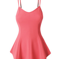 LE3NO Womens Fitted Sleeveless Slight V Neck Peplum Top (CLEARANCE)