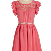 ModCloth Boho Mid-length Cap Sleeves A-line Indie Darling Dress in Coral