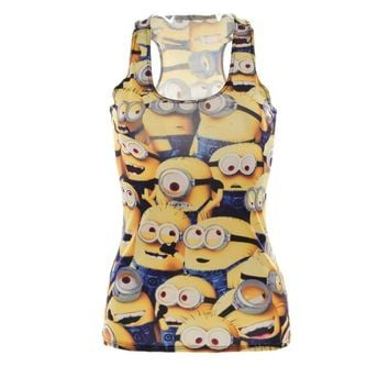 Tops Summer Women Blouses Strapless Sleeveless Digital Print Casual Animated Movie Minions Tank Tops Ladies' Vest