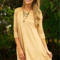 Long Sleeve Suede Dress Camel