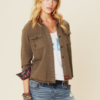 Free People Olive Buttondown with Embroidery