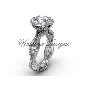 platinum diamond engagement ring VF301003