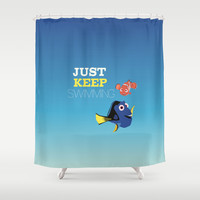 just keep swimming with nemo and dory Shower Curtain by Studiomarshallarts