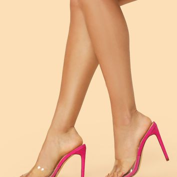 Pointy Sole Open Toe Clear Band High Heel Mules