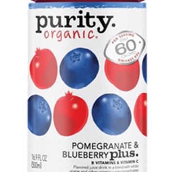 Purity Organic Pomegranate & Blueberry Plus 16 oz Bottles - Pack of 12