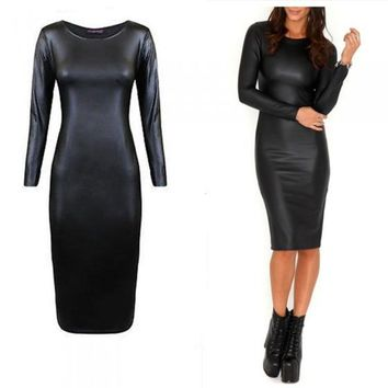 2018 Winter Sexy Women PU Dress Leather Dress Long Sleeve O Neck Midi Party Plus Size Dresses XXL Black