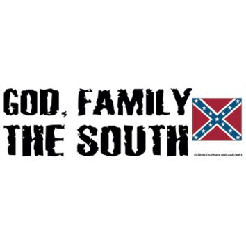 God, Family, and The South Bumper Sticker By Dixie Outfitters®