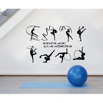 Vinyl Wall Decal Rhythmic Gymnastics School Logo Sport Girl Stickers (3249ig)