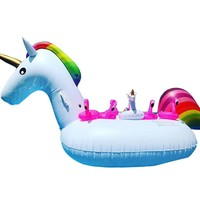 200CM Unicorn Swimming Float Inflatable Unicorn Swimming Float Unicorn Pool Float Tube Raft Kid Swimming Ring Summer Water Toy