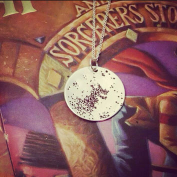 The Grim Reading Tea Leaves Bottom Of Teacup Necklace - Harry Potter & The Prisoner Of Azkaban Inspired Geekery Hand Stamped